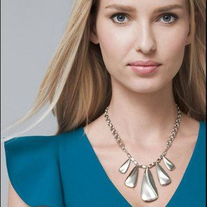 WHBM Reversible Folded-Teardrop Station Necklace
